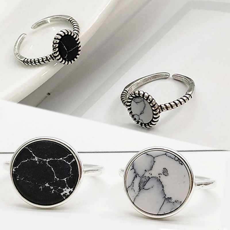 Silver Adjustable Gifts Ring Girls Party White Marbled Stone Open Seaside Round Circle Valentines Gift High Quality 1PC Black
