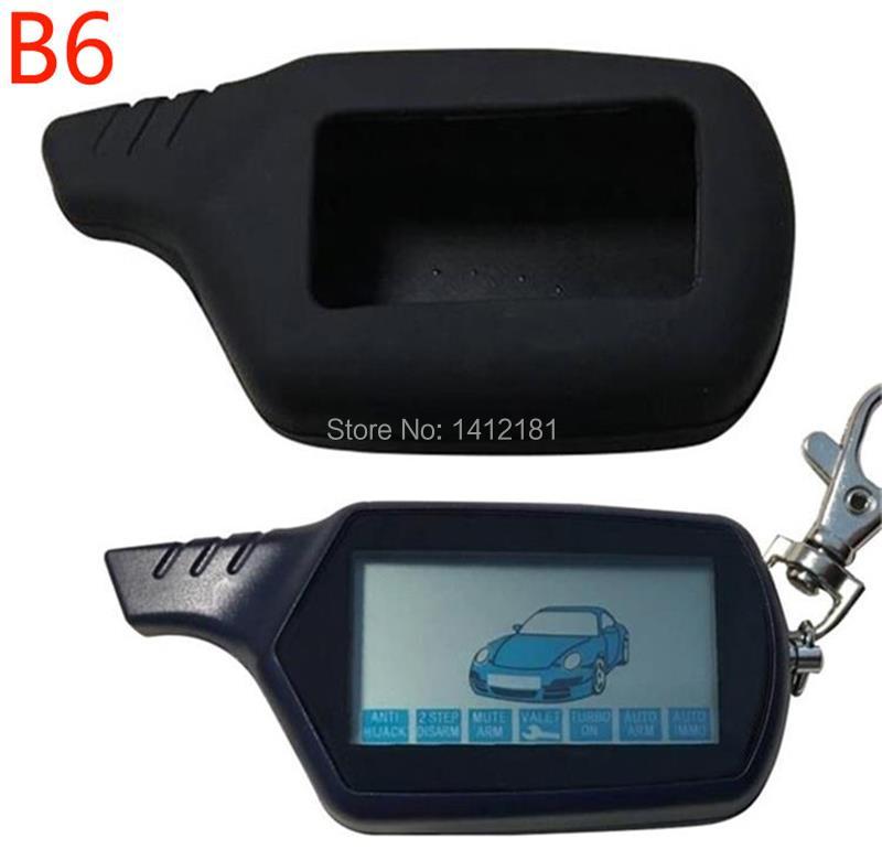 B6 LCD Remote Control Keychain Key Fob + Silicone Case For Twage Keychain Starline B6 2 Way Car Alarm System, Burglar Alarm