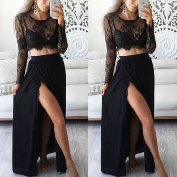 2-Piece Lace Maxi Dress Set