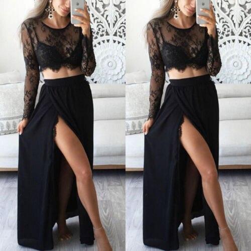 2-Piece Lace Maxi Dress Set