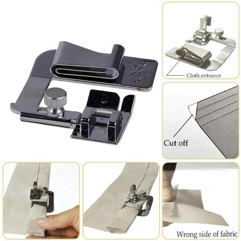 3 Pcs Hemming Kain Strip Presser Kaki Mesin Jahit Rolled Hem Foot Logam Bordir Darning Domestik Sewing Kit Aksesoris