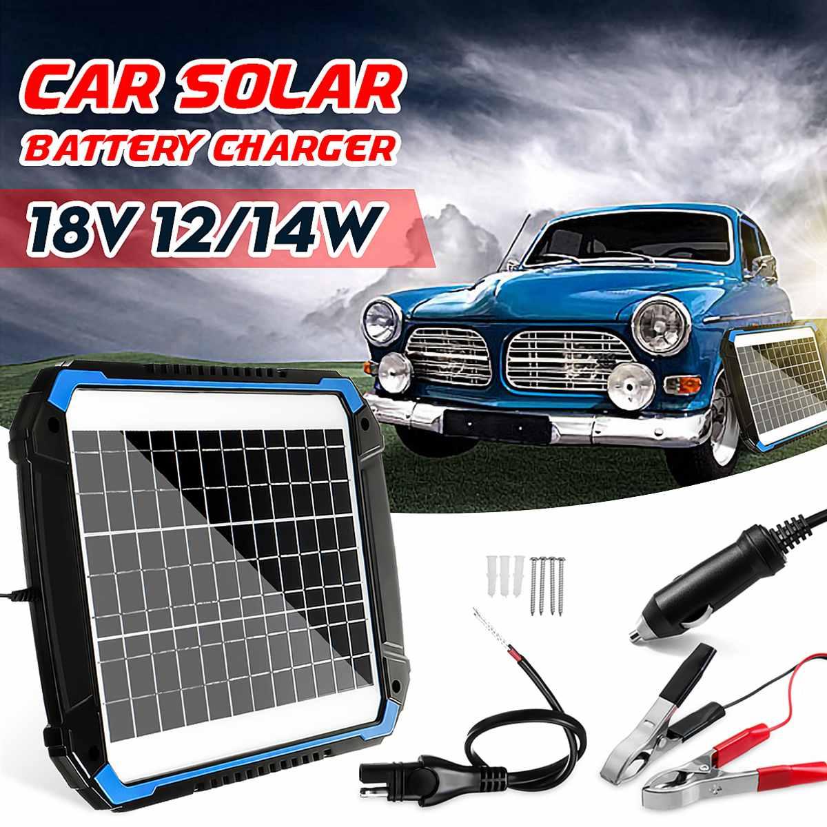 12/14 W panneau solaire Trickle chargeur de batterie mainteneur pour voiture véhicule charge multifonction Protection 3m-panneau longueur de câble