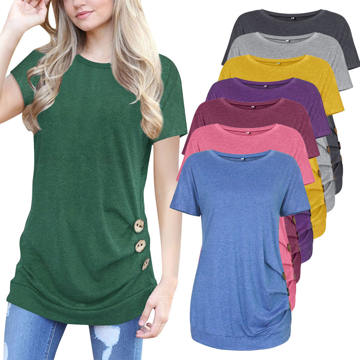 2019 Fashion New tops Button Decoration Short Sleeve T Pity Woman t shirt summer top Comfort leisure women T shirts in T Shirts from Women 39 s Clothing