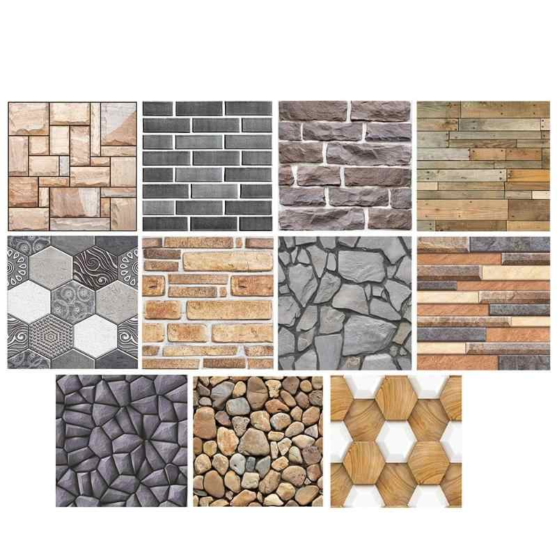 3D Wallpaper Wall Stickers Geometry Brick Stone Waterproof Self-Adhesive Decal Home Bedroom Kitchen Creative Decor Environmental