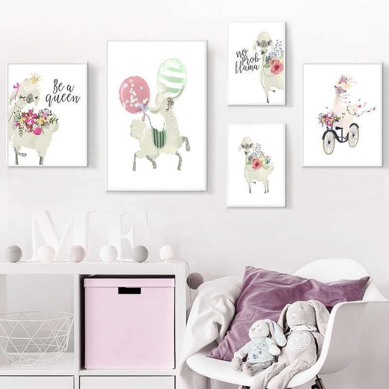 Nursery Baby Room Decor Alpaca Llama Animal Canvas Painting Nordic Posters And Prints Wall Art Picture For Kids Bedroom No Frame