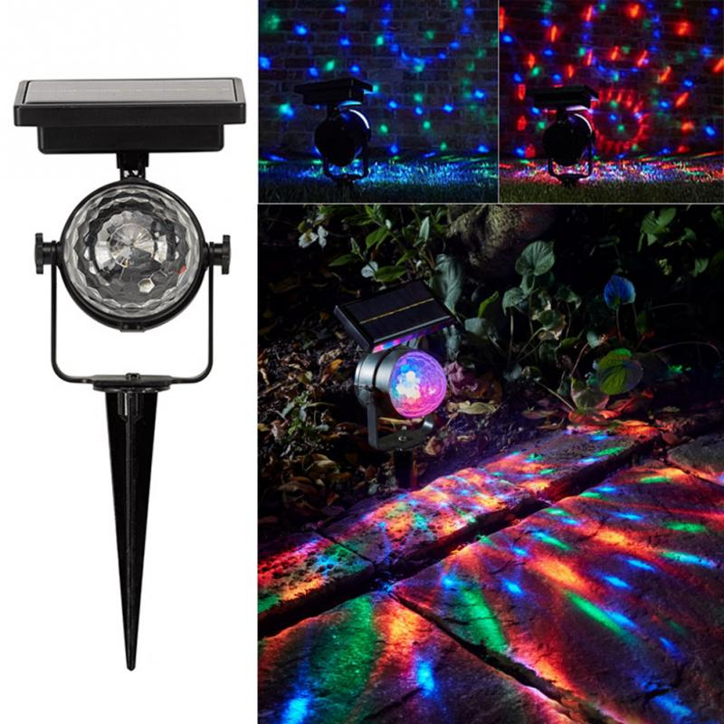 Solar Projection Lamp Rotatable Colorful Lawn Solar Powered Light Outdoor LED Mixing Color Durable Christmas Party Lamp