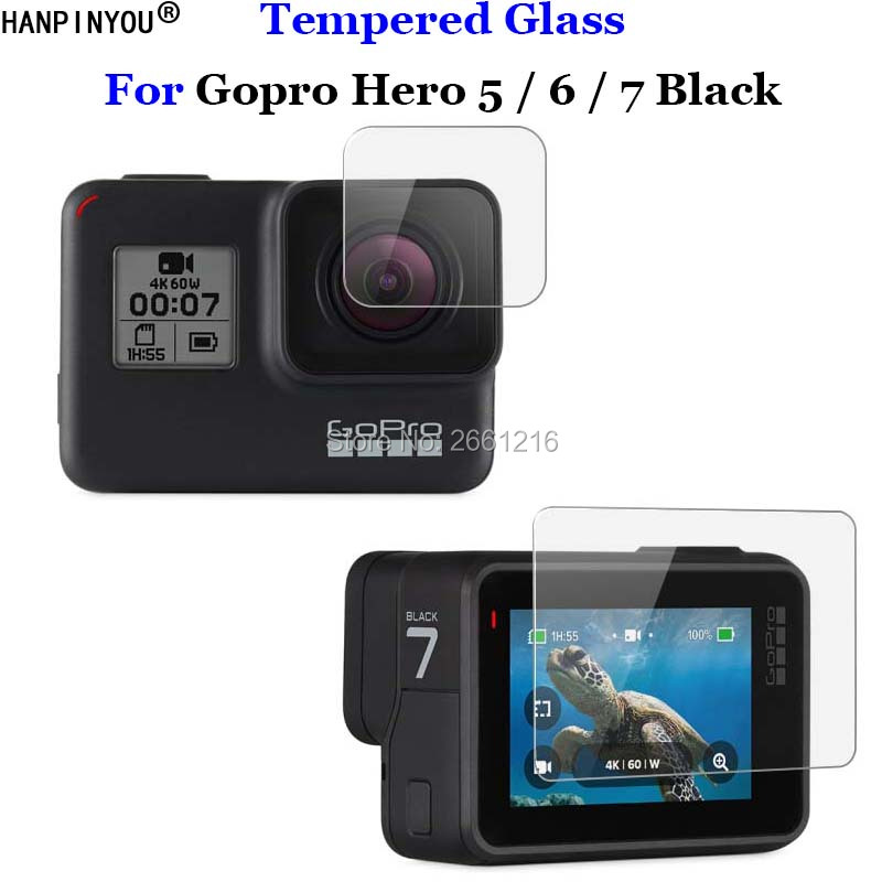 For Gopro Hero 5 / 6 / 7 Black 9H 2.5D Camera Lens / LCD Screen Premium Tempered Glass Protector Film