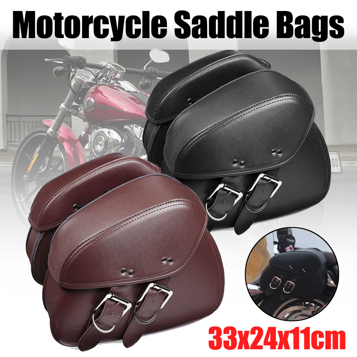 Universal Pair Black/Brown PU Leather Motorcycle Tool Bag Luggage Saddle Bags for Harley for KawasakiUniversal Pair Black/Brown PU Leather Motorcycle Tool Bag Luggage Saddle Bags for Harley for Kawasaki