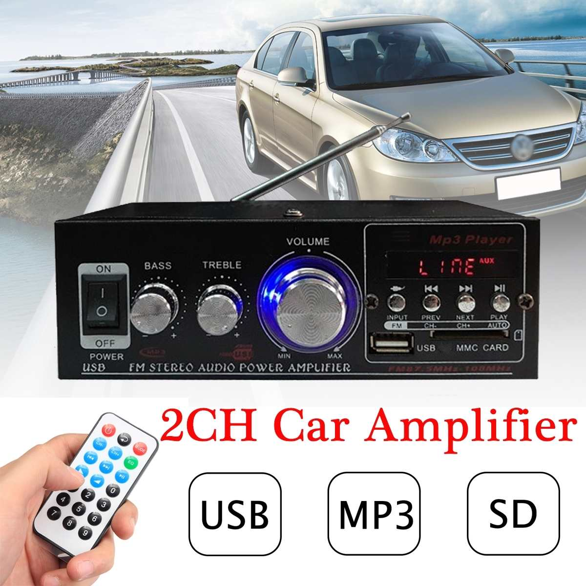 Digital Car Amplifier Stereo With USB Output Home Audio Ampl