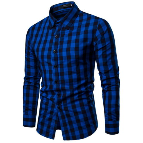 Men Luxury Casual Plaid Stylish Slim Fit Long Sleeve Fashion Business Dress Shirts