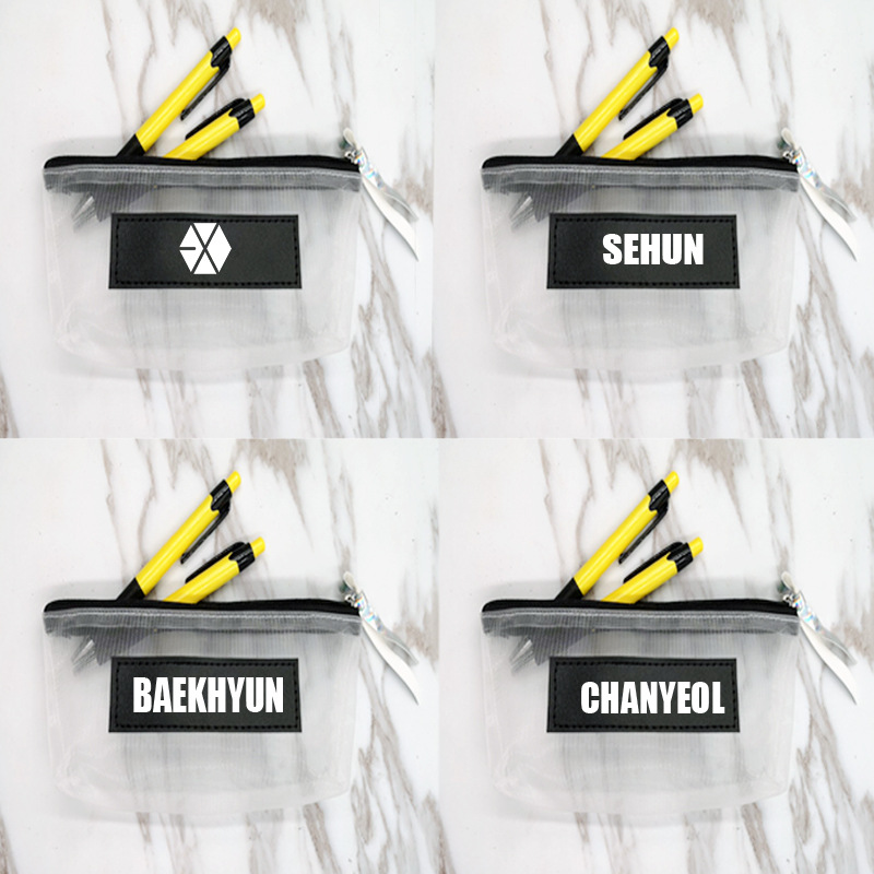 exo Baekhyun Sehun New Pen Bag Comestic Case Mesh Bag Kpop Collection Sa18091109 Famous For Selected Materials Novel Designs mykpop Delightful Colors And Exquisite Workmanship