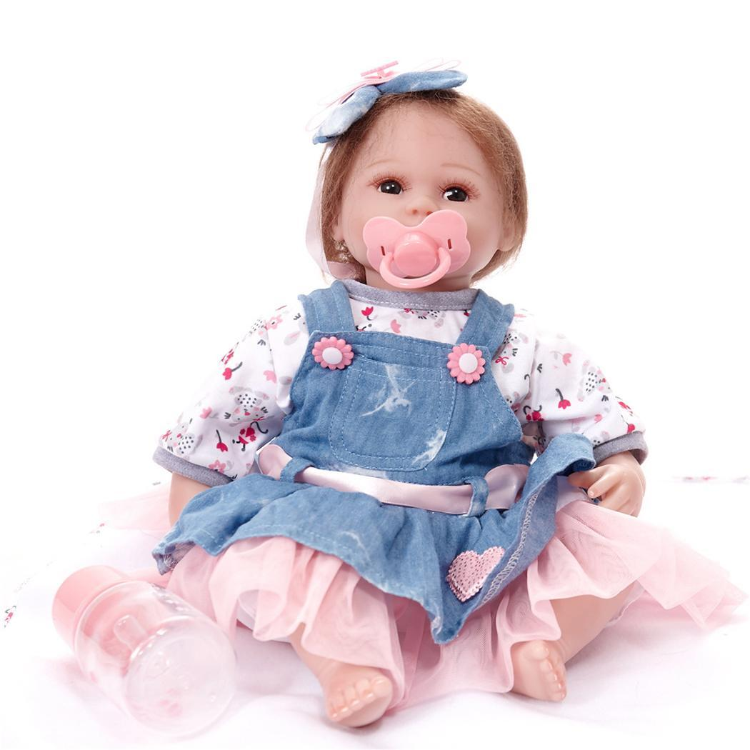 Children Fashion Cute Soft Silicone Lifelike Girl Blue Infant Dolls 3+ 42cm Female Home, Bedroom 0.81kg Baby Toy Gift