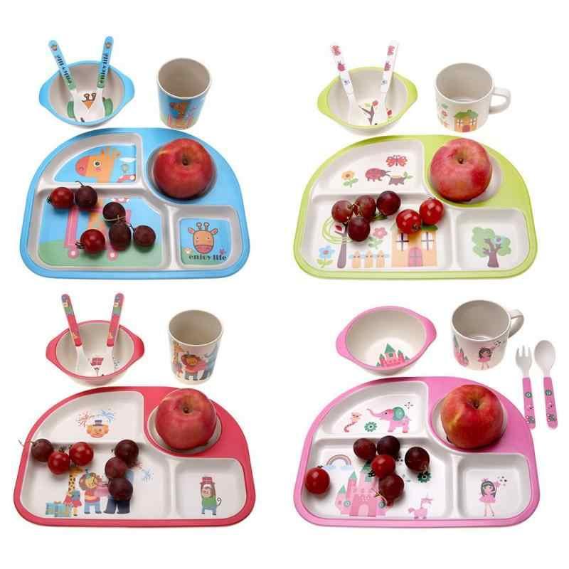 5 Pcs/set Ramah Lingkungan Serat Bambu Bayi Piring Hidangan 4 Slot Anak-anak Peralatan Makan Piring Makan Kreatif Hadiah Bayi