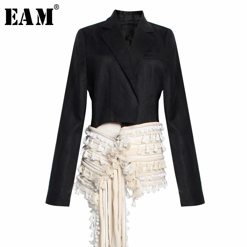 EAM 2019 New Spring Summer Lapel Long Sleeve Black Hem Irregular Tassels Split Joint Loose