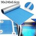Auto-adhesivo de espuma EVA de teca de barco yate sintético cubiertas 0,6 cm 90x240 cm de espuma estera del piso azul con hoja de suelo de línea blanca