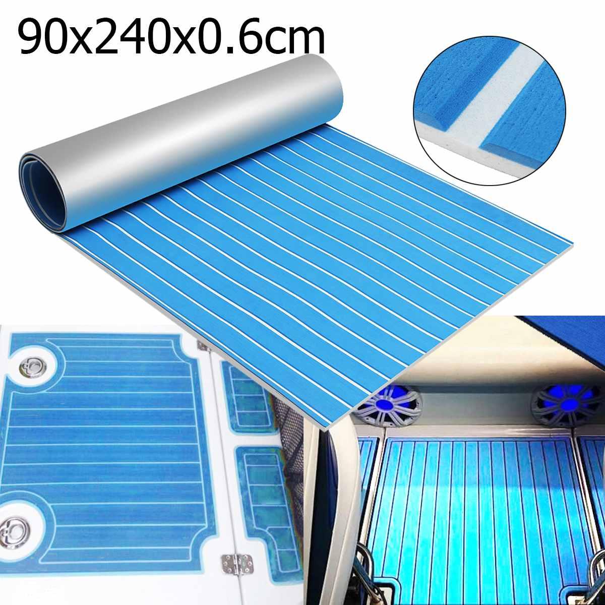 Self-adhesive EVA Foam Teak Sheet Boat Yacht Synthetic Decking 0.6cm 90x240cm Foam Floor Mat Blue With White Line Floor Sheet