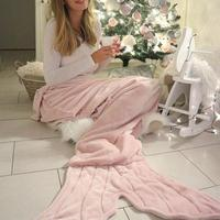 Fishtail Shaped Blanket Towel Upgraded Double layered Soft Cozy Fleece Napping Blanket Fashionable Warm Practical Sleeping Bag