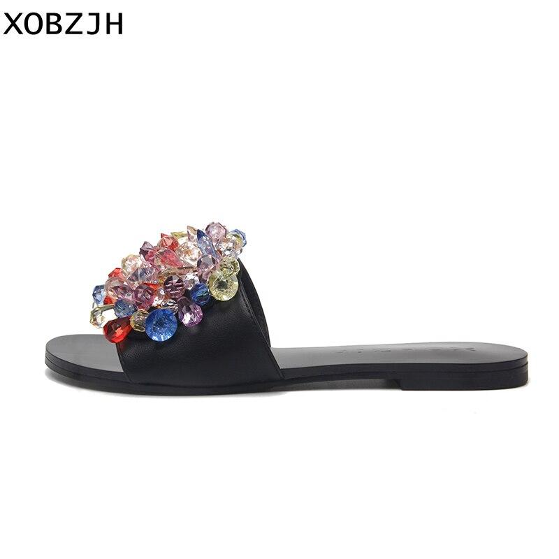Handmade Beading Shoe Woman Luxury Flat Sandals 2019 Ladies Party Leather Black Slippers Brand Designer Women Shoes