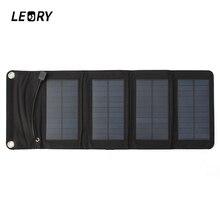 LEORY 7W USB 태양 광 발전 은행 휴대용 태양 전지 패널 배터리 충전기 캠핑 여행 접는 전화 충전 키트