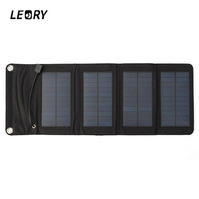 Leory 7 ワット usb ソーラー電源銀行ポータブルソーラーパネルバッテリー充電器キャンプ旅行折りたたみ電話充電キット