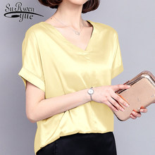 new summer women tops silk casual solid women blouses shirts v-neck fashion plus size women elegant 2018 female clothing 0420 40(China)