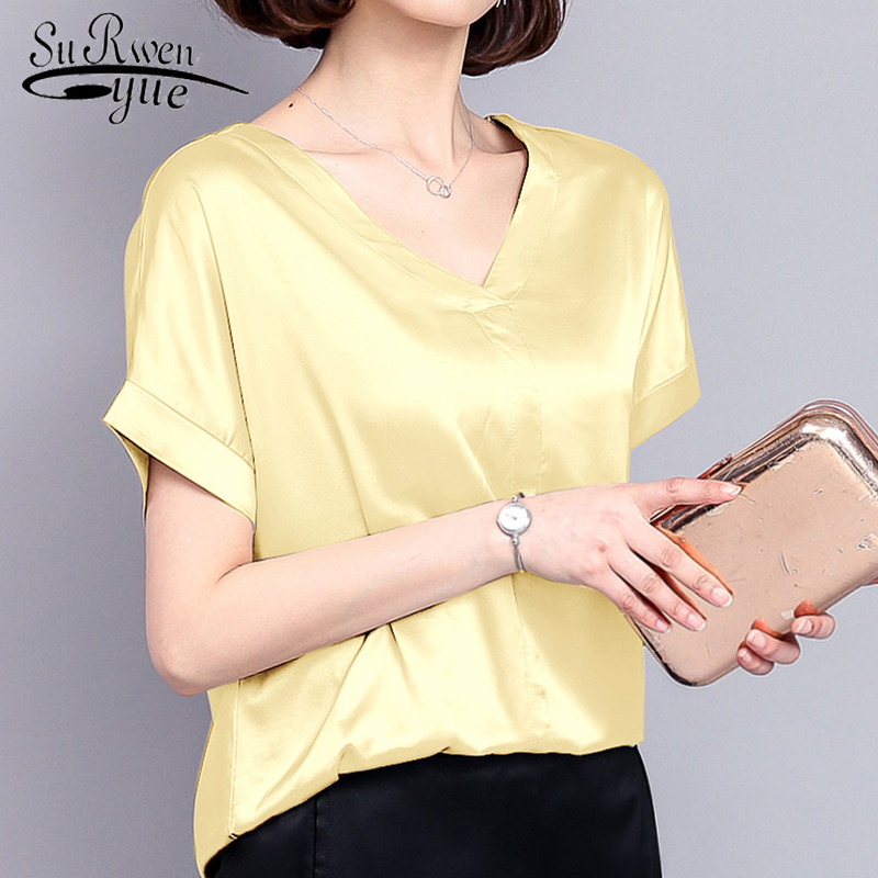 new summer women tops silk casual solid women   blouses     shirts   v-neck fashion plus size women elegant 2018 female clothing 0420 40