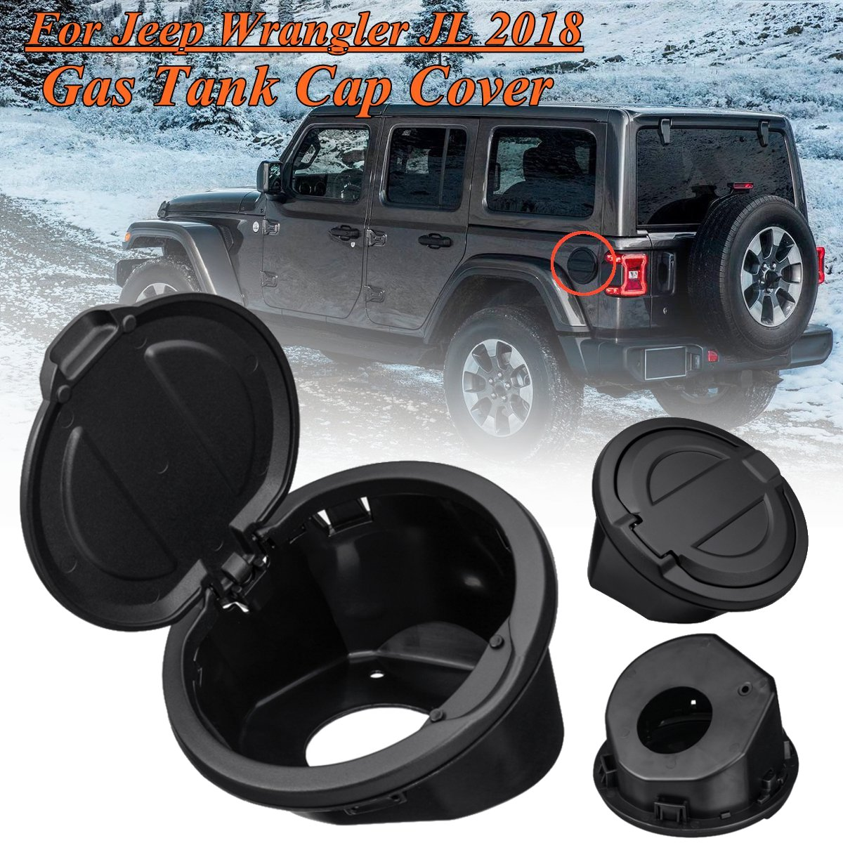 For Jeep For Wrangler JL 2018 Up 1 Pcs Car Fuel Oil Gas Tank Cap Guards Gasket Ring Cover Trim Exterior Decoration Accessories