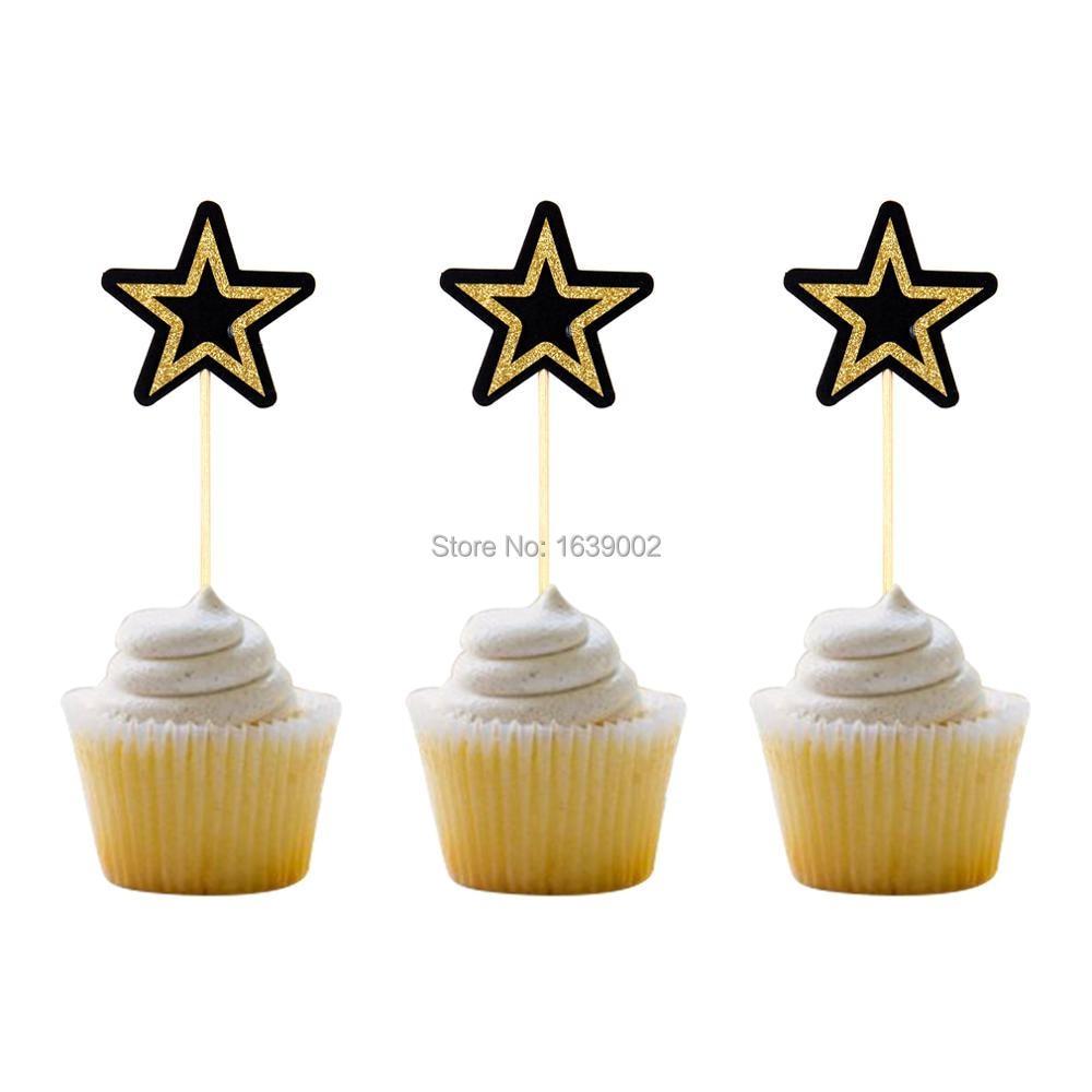 12pcs Black And Gold Star Baby Birthday Party Cupake Decoration Wedding Supplies Graduation Celebration Favor