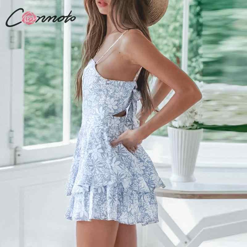 Conmoto Лето 2019 Повседневное богемный комбинезоны Для женщин с бантом пикантные пляжные комбинезон женский синий элегантные короткие комбинезоны