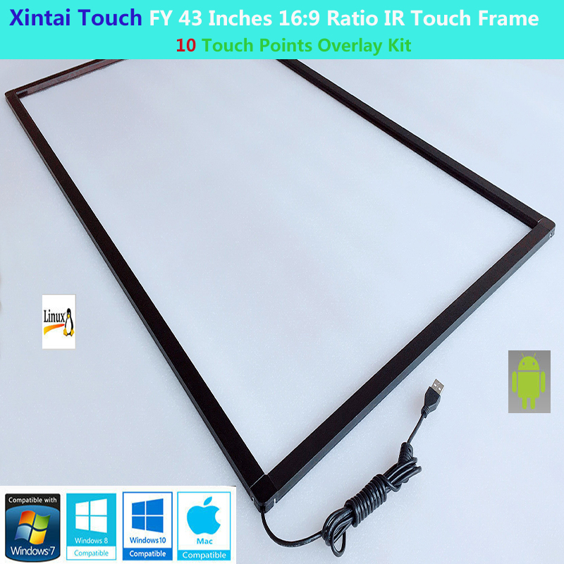 Xintai Touch FY 43 Inches 10 Touch Points 16 9 Ratio IR Touch Frame Panel Plug