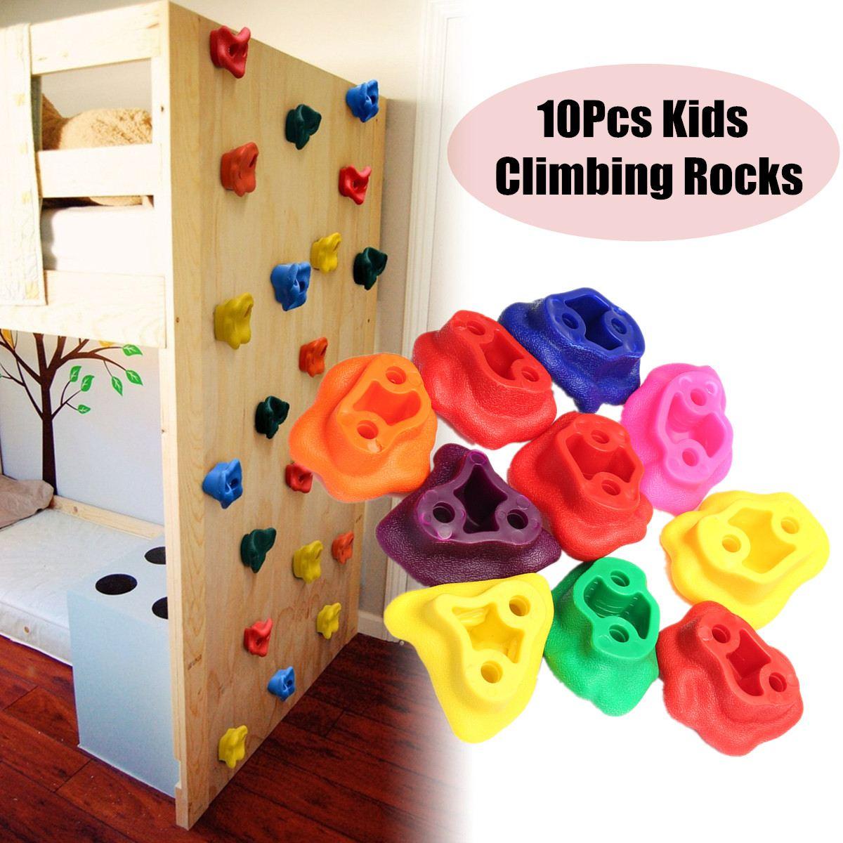10 pièces enfants escalade roches en plastique texturé mur pierres assorties Kit aléatoire boulon escalade accessoires
