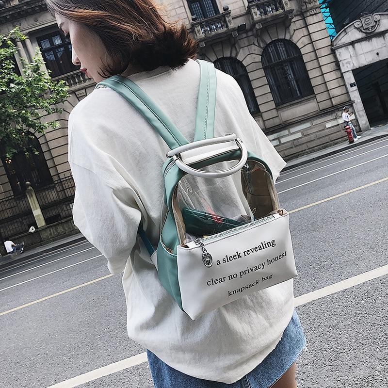 Transparent Women Backpacks Clear PVC Teenager Girls Zipper Student School Backpack Travel Bag Mochila Feminina