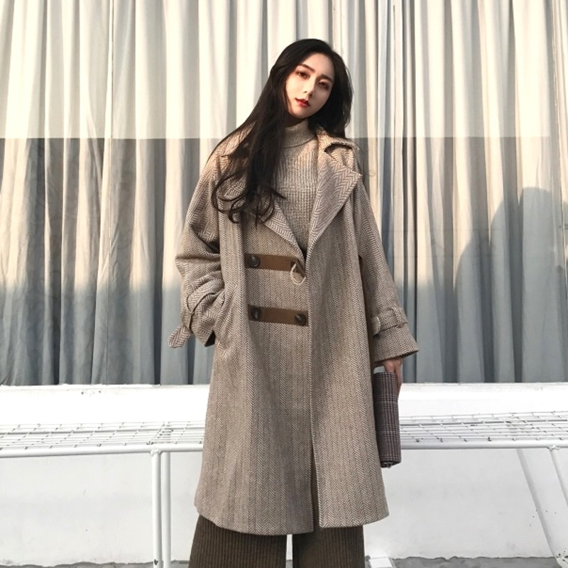 Laine Patchwork Breasted normal 2018 Longues De Revers ewq Femmes Mode Long Poches Automne Hiver Casual Double Thicken Ac733 Manches Manteau Lâche 4RnfzZqw8