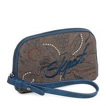 Skpat Collectables Hartford Женская сумочка ручной работы с ручкой из искусственной кожи и холста печать в цвете синий 95605
