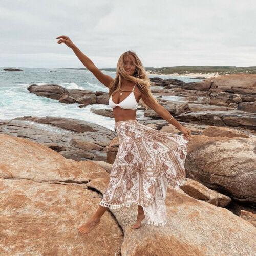 2019 Summer New Arrival Vintage Bohemia  Tassel Floral Printed Women Boho Floor-Length Long Maxi Beach Party Loose Flare Skirt