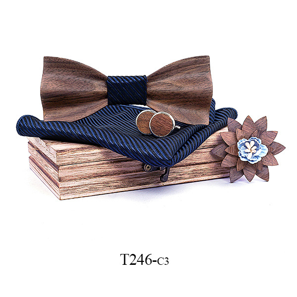 2019 New 3D Black Walnut Hollow Brooch Solid Wooden Bow Tie European And American Wedding Gift Wood Bow Tie Logo Custom