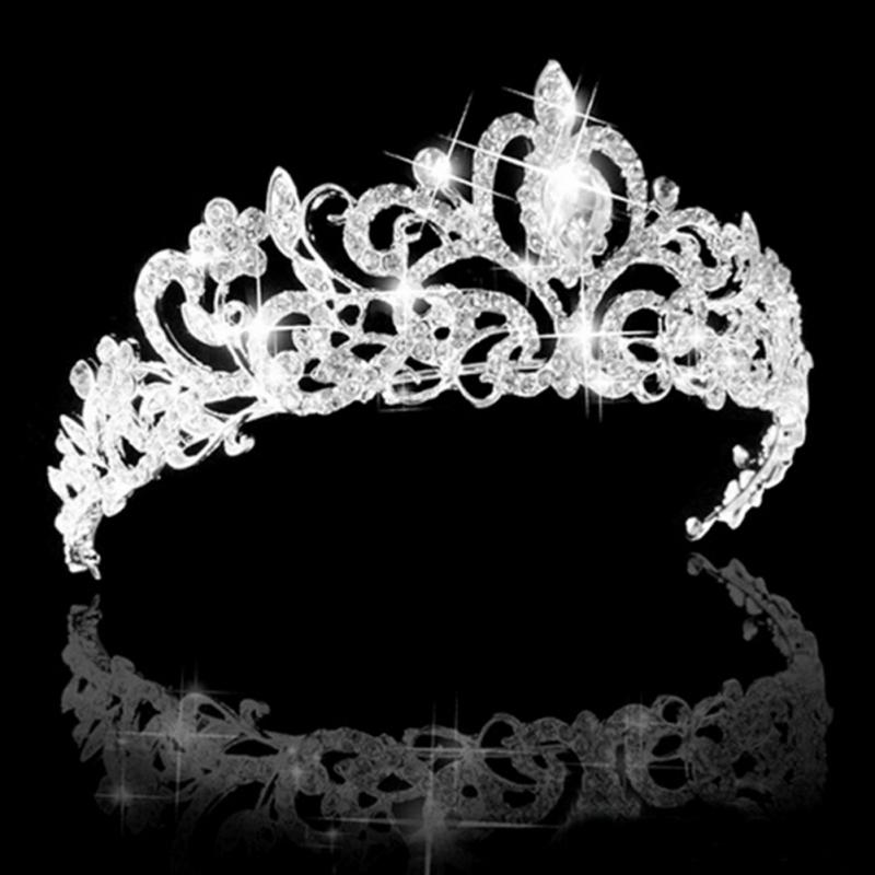 Wedding Bridal Princess Austrian Crystal Prom Hair Tiara Crown Veil Headband