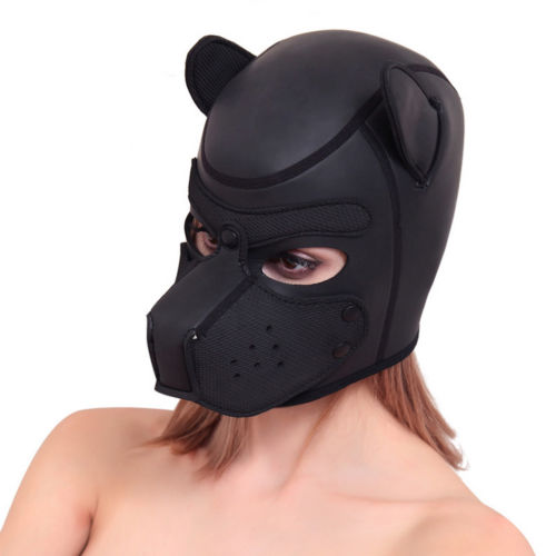 Padded Latex Rubber Role Play Dog Mask Puppy Cosplay Full Head With Ears 4 Color