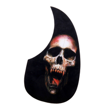 PVC Adhesive Pickguard Scratch Plate for Guitar -PVC Material Black with Skull Pattern Protect Guitar from Scratching недорого