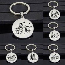 Family Mom Dad Daughter Son Pet Keychain Mother's day Gift Stainless Steel Key Ring Mother Father Kids Key Chain(China)