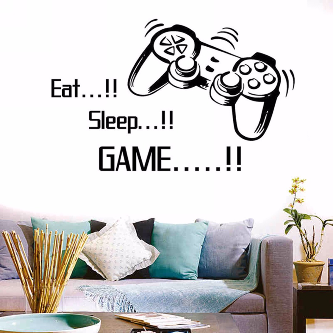 DIY Creative Eat Sleep Game Vinyl Wall Art Stickers Gamer Xbox PS3 Bedroom Decal