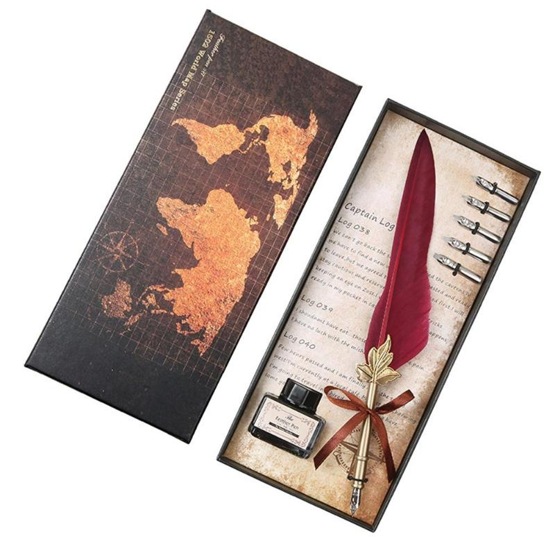 Retro Vintage Calligraphy Feather Dip Pen Writing Set Quill Fountain Pens Birthday Gifts