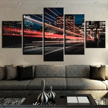 HD Print 5 Piece Canvas Painting Light Travels City Cuadros Landscape Wall Art Home Decor For Living Room Picture