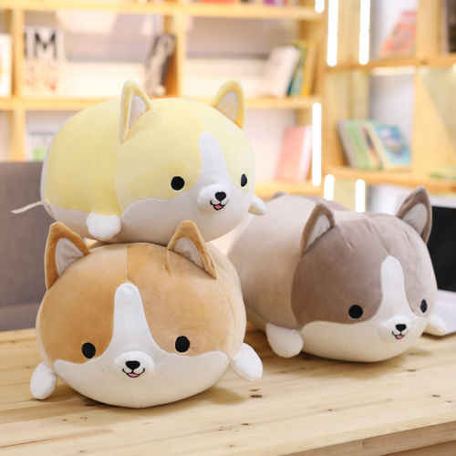 35/50/60 cm Corgi Dog Plush Toy Stuffed Animal Macio Bonito Dos Desenhos Animados Travesseiro Kawaii