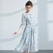 Womens 2019 spring new ruffled chiffon dress Ladies fresh printed sleeve free shipping