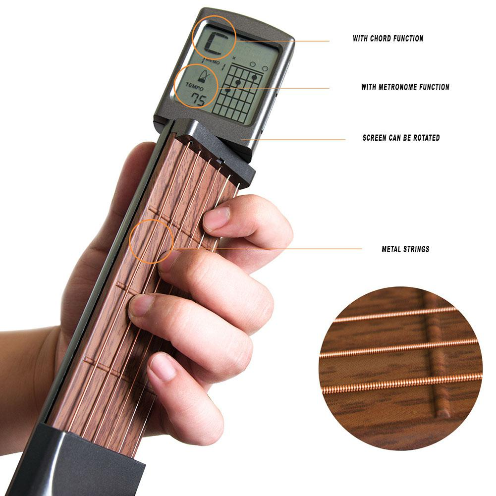 Pocket Guitar Electric Guitar 6 Strings Guitar Gadgets Aerial Finger Exerciser Train Practice Tools with Chord Display