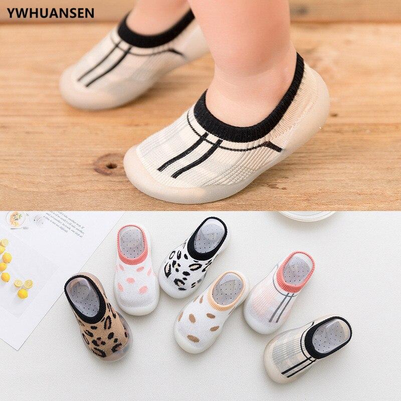 Summer Spring Leopard Soft Bottom Non-Slip Floor Socks Solid Color Toddler Girl Boy Shoes With Transparent Rubber Soles Kid Baby