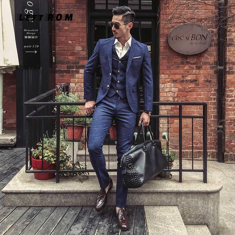 (ジャケット + ベスト + パンツ) メンズ結婚式のスーツ男性ブレザースリムメンズ衣装ビジネスフォーマルパーティー古典的な黒/グレー/ネイビー