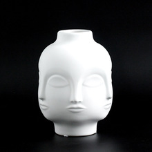 Ladies Face Head Planter Vase Face Vase For Flower Human Face Flower Vase Succulent Pot Home Garden Ornament White Ceramic Craft nordic creative human face ceramic vase white art abstract flower vase flower pot flower arrangement ornament home decoration