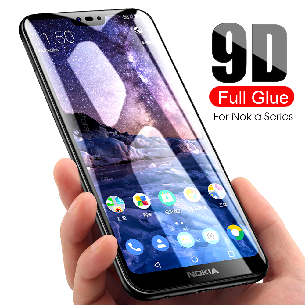 9D protective glass for <font><b>Nokia</b></font> 2 3 5 6 7 2017 tempered glas screen protector for <font><b>Nokia</b></font> 2.1 <font><b>3.1</b></font> 5.1 6.1 <font><b>Plus</b></font> 7.1 8.1 X5 X6 X7 2018 image